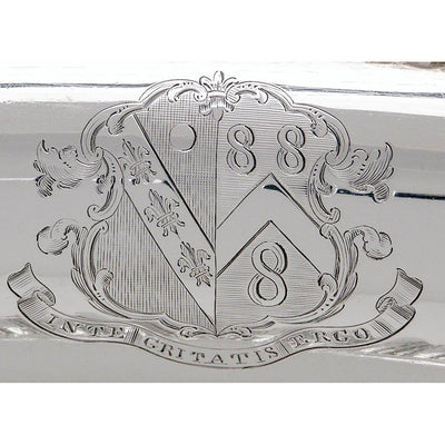 Arms on Rebecca Emes & Edward Barnard Pair of English Sterling Covered Vegetable Dishes, London, c. 1827/28