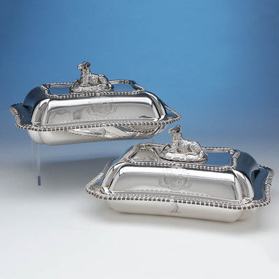 Rebecca Emes & Edward Barnard Pair of English Sterling Covered Vegetable Dishes, London, c. 1827/28