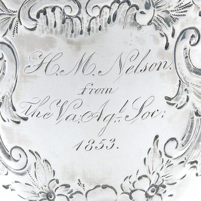 VA inscribed William Gale & Son Pair of American Coin Silver Presentation Goblets, New York, c. 1852, of Southern Interest