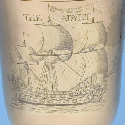 Engraved Advice on Benjamin Pyne: The Advice Cup - English Queen Anne Silver-Gilt Wine Goblet and Cover, London, 1705/6, of British Naval, American Colonial and Pirate Interest