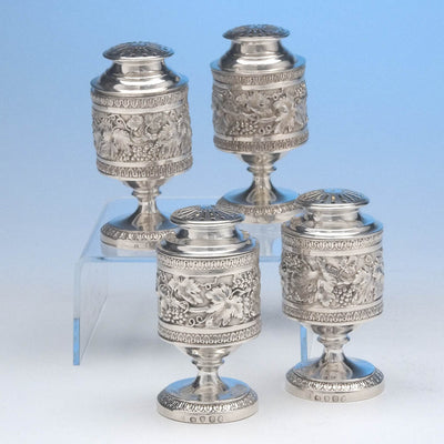 Rebecca Emes & Edward Barnard Pair of George III English Sterling Silver Casters, London, 1815, together with 2 identical silver plate examples by Elkington & Co, c. 1849