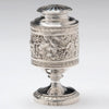 Detail of Rebecca Emes & Edward Barnard Pair of George III English Sterling Silver Casters, London, 1815, together with 2 identical silver plate examples by Elkington & Co, c. 1849
