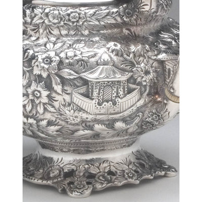 Repousse on Samuel Kirk 11oz Silver Repoussé Chinoiserie Teapot, c. 1834-46, bearing the crest and arms of Maryland Governor Thomas Swann (1809-1883)