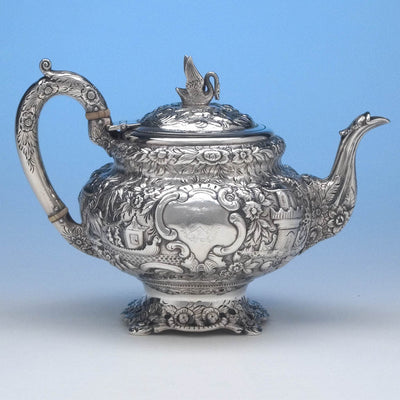 Samuel Kirk 11oz Silver Repoussé Chinoiserie Teapot, c. 1834-46, bearing the crest and arms of Maryland Governor Thomas Swann (1809-1883)