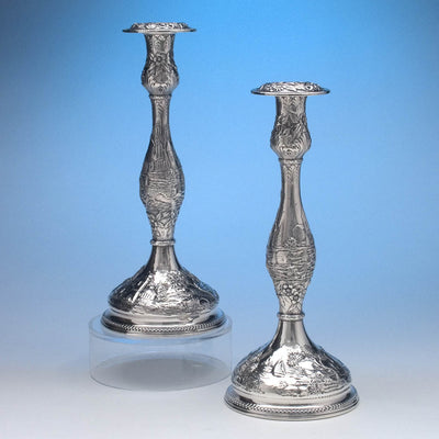 S. Kirk & Son Co Pair of 'Castle' Pattern Sterling Silver Candle Sticks, Baltimore, MD, c. 1900