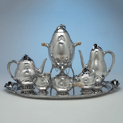Rare Peer Smed Antique Sterling Silver Coffee Service with Tray, New York City, c. 1930's