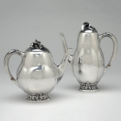 Pots to Peer Smed Antique Sterling Silver Coffee Service with Tray, New York City, c. 1930's