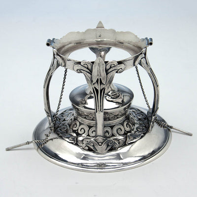 Peer Smed Antique Sterling Silver Coffee Service with Tray, New York City, c. 1930's