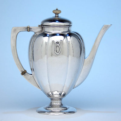 Coffee pot to The Kalo Shop Hand Wrought Sterling Silver Arts & Crafts Seven Piece Coffee and Tea Service with Tray, Chicago, Illinois - c. 1916-17