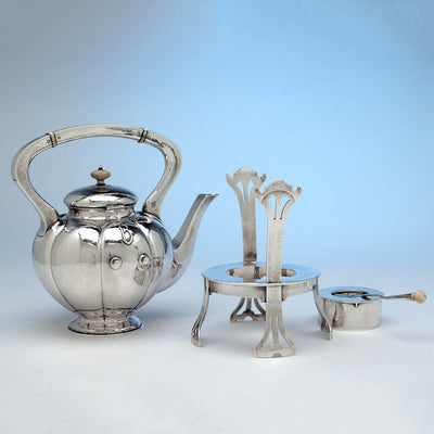 Kattle parts to The Kalo Shop Hand Wrought Sterling Silver Arts & Crafts Seven Piece Coffee and Tea Service with Tray, Chicago, Illinois - c. 1916-17