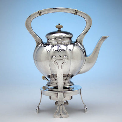Kettle to The Kalo Shop Hand Wrought Sterling Silver Arts & Crafts Seven Piece Coffee and Tea Service with Tray, Chicago, Illinois - c. 1916-17