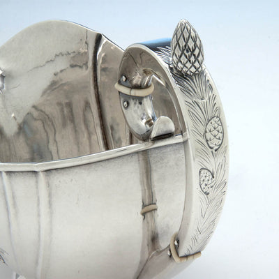 Handle to Kalo Shop Hand Wrought Pine Cone Decorated Arts & Crafts Sterling Silver Large Sauce Boat, Chicago, Illinois, c. 1920's