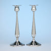 Pair of Kalo Shop Sterling Silver Arts & Crafts Decorated Tall Candlesticks, Chicago, Illinois - c. 1920's