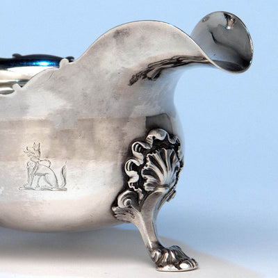 Crest on Peter Archambo II and Peter Meure George II Antique English Sterling Silver Sauce Boat, London,1748/49