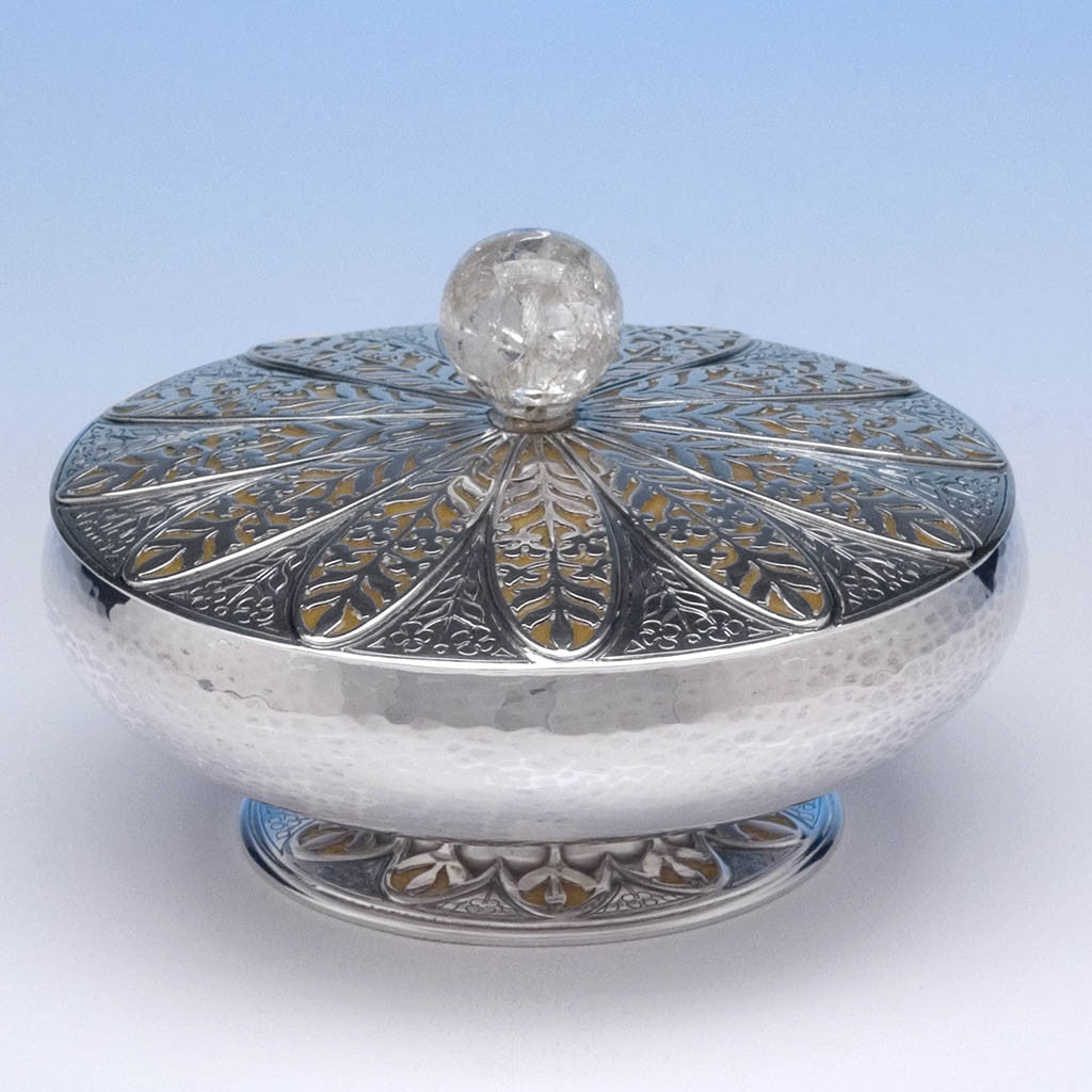 Rebecca Cauman Rare and Important Sterling Silver, Enamel and Crackled Rock Crystal Covered Bowl or Box, Boston, c. 1927, exhibited at the Boston Society of Arts & Crafts Tricennial Exhibition held at the Museum of Fine Arts, Boston, March 1 - 20, 1927