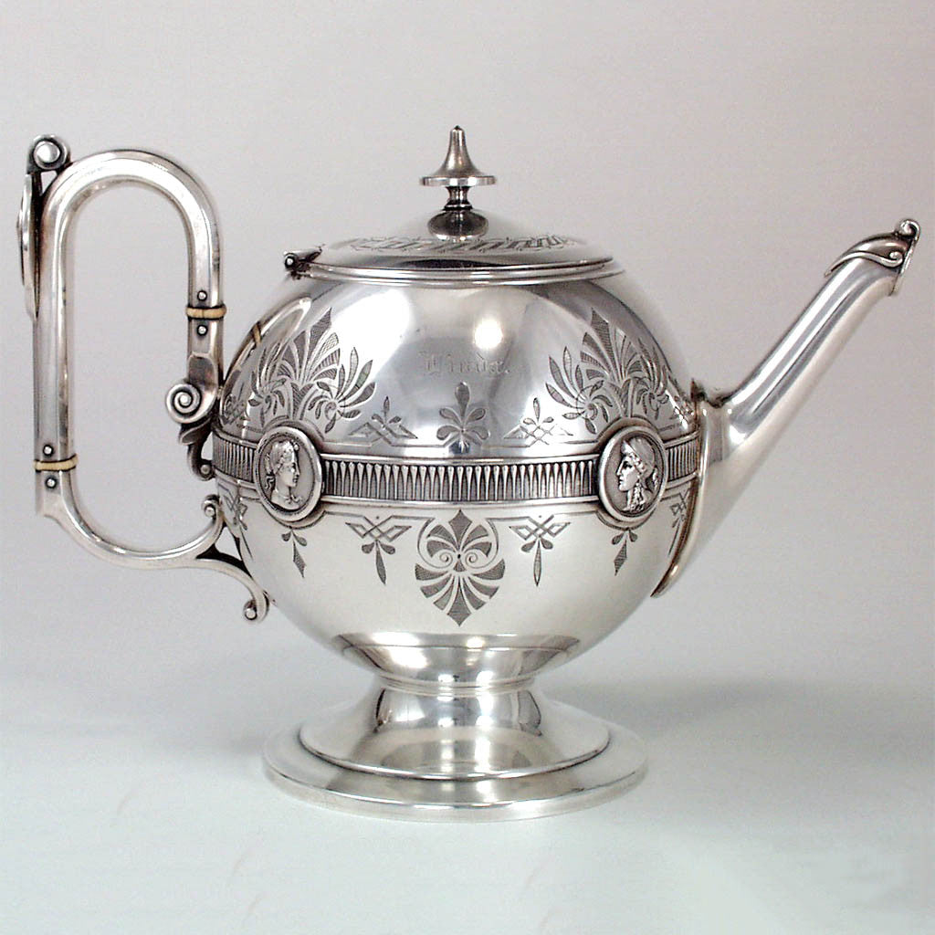 Gorham Antique Coin Silver Medallion Teapot, Providence, RI, c. 1865