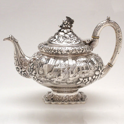Peter L. Krider Antique Sterling Silver Tea Pot, Philadelphia, PA, c. 1870
