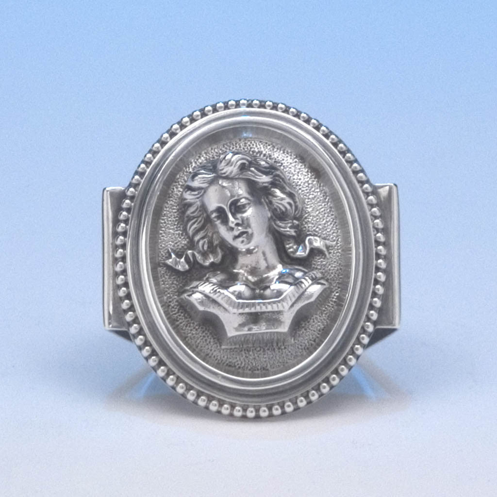 Wood & Hughes Coin Silver Figural Napkin Ring, New York City, c. 1873