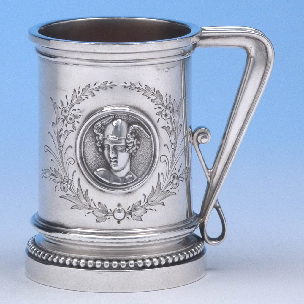 John Wendt (attr.) Antique 'Medallion' Sterling Silver Child's Mug, New York City, c. 1867