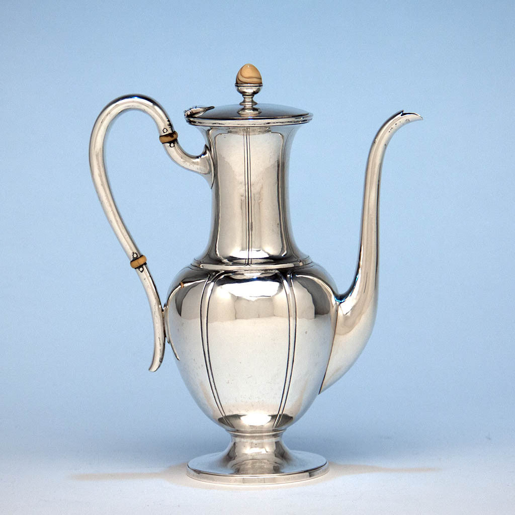 Arthur Stone Sterling Silver and Ivory Hand Wrought Arts & Crafts After-Dinner Coffee Pot, c. 1920