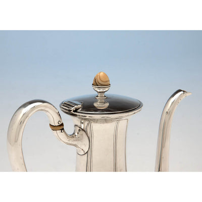 Lid to Arthur Stone Sterling Silver and Ivory Hand Wrought Arts & Crafts After-Dinner Coffee Pot, c. 1920