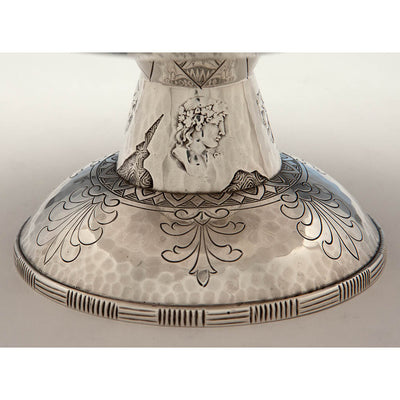 Pedestal base to Shiebler 'Homeric' Medallion Antique Sterling Silver Large Compote, NYC, c. 1880's