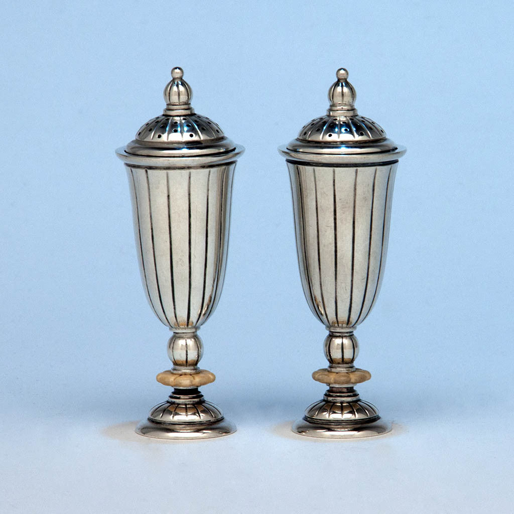 Erik Magnussen Designed for Gorham Pair of Art Deco Sterling Silver and Ivory Salt & Pepper Shakers, Sample Code F/YW, Providence, 1926
