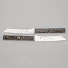 Two of Gorham Antique Mixed Metal Japanese Design Fruit Knives, set of 6, Providence, RI, c. 1880