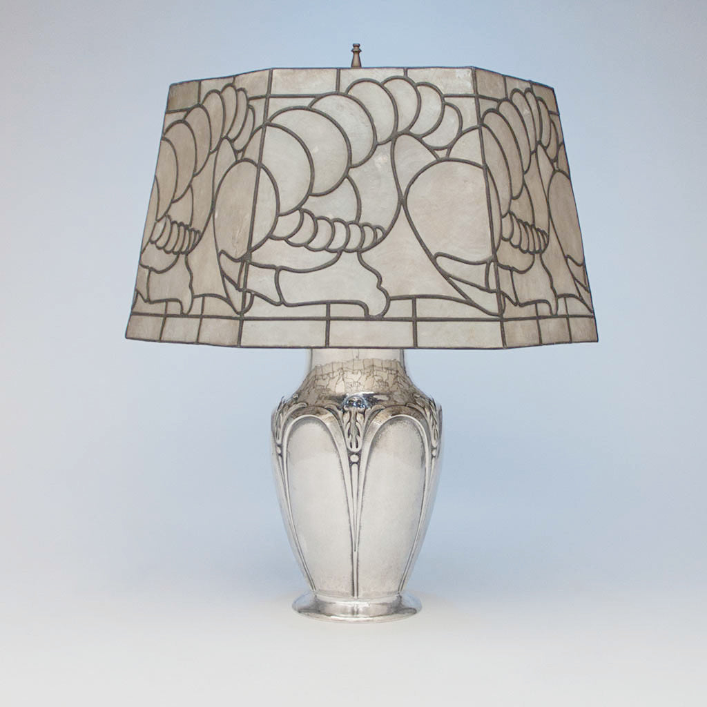 Clemens Friedell Arts & Crafts Sterling Silver and Oyster Shell Lamp, Pasadena, CA, c. 1920