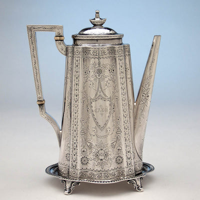 Coffee pot to Gale & Willis Antique Sterling Silver Coffee and Tea Service, New York City, 1859