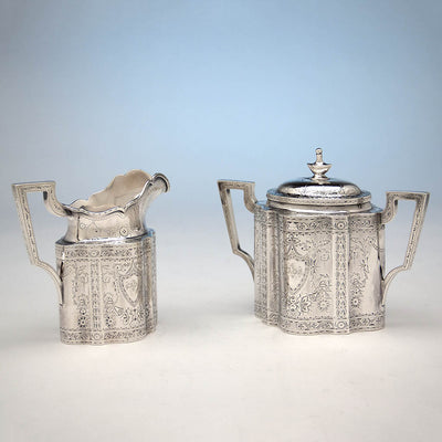 Sugar and Creamer to Gale & Willis Antique Sterling Silver Coffee and Tea Service, New York City, 1859
