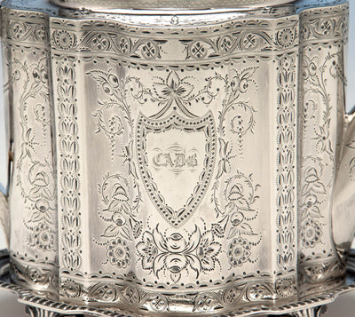 Tea Caddy detail to Gale & Willis Antique Sterling Silver Coffee and Tea Service, New York City, 1859