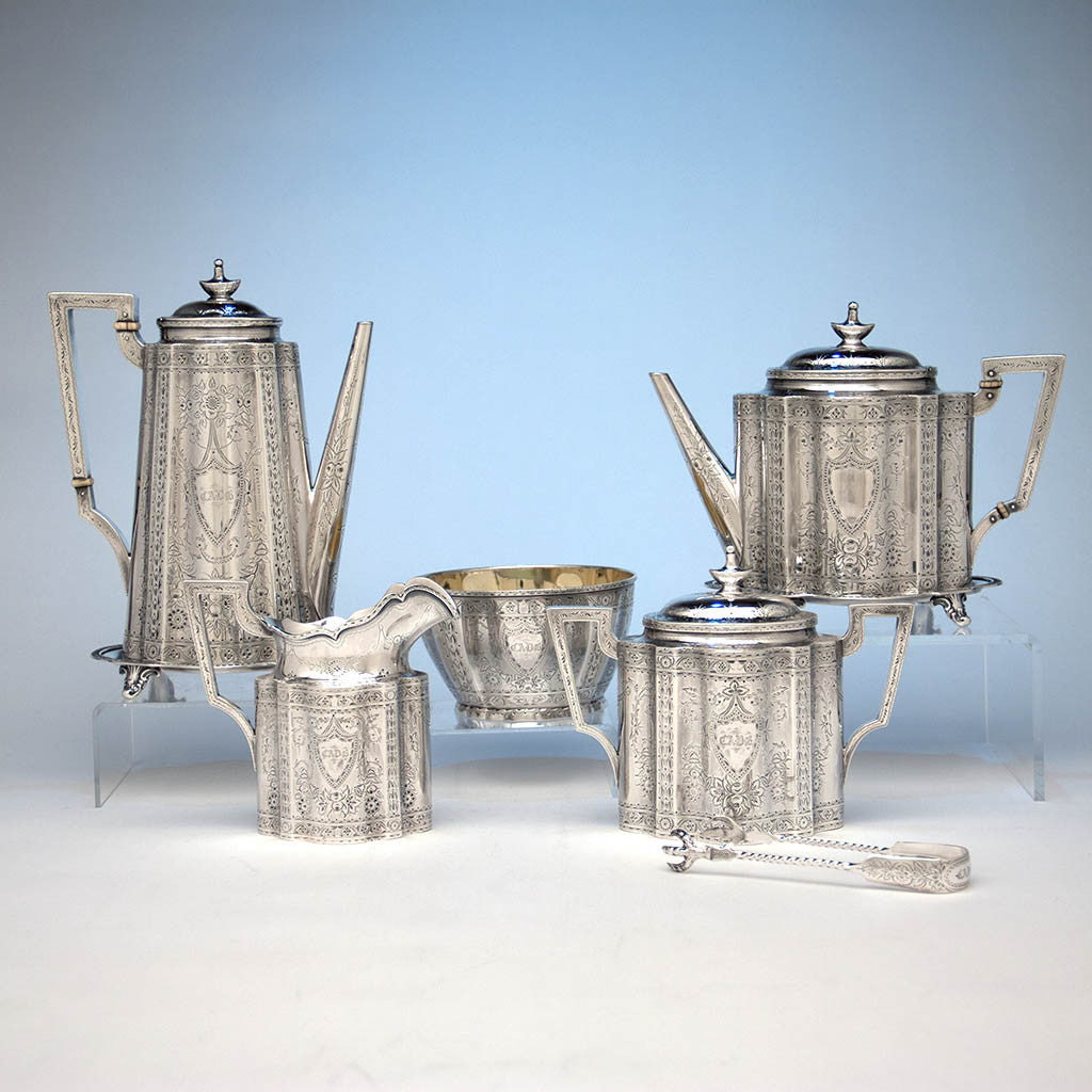 Gale & Willis Antique Sterling Silver Coffee and Tea Service, New York City, 1859