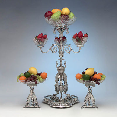 Fruit adorned Victorian Sterling Silver Egyptian Revival Garniture Suite by Frederick Elkington, Birmingham, 1885/86