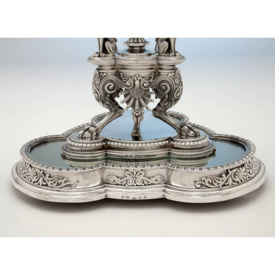 Plateau to Victorian Sterling Silver Egyptian Revival Garniture Suite by Frederick Elkington, Birmingham, 1885/86