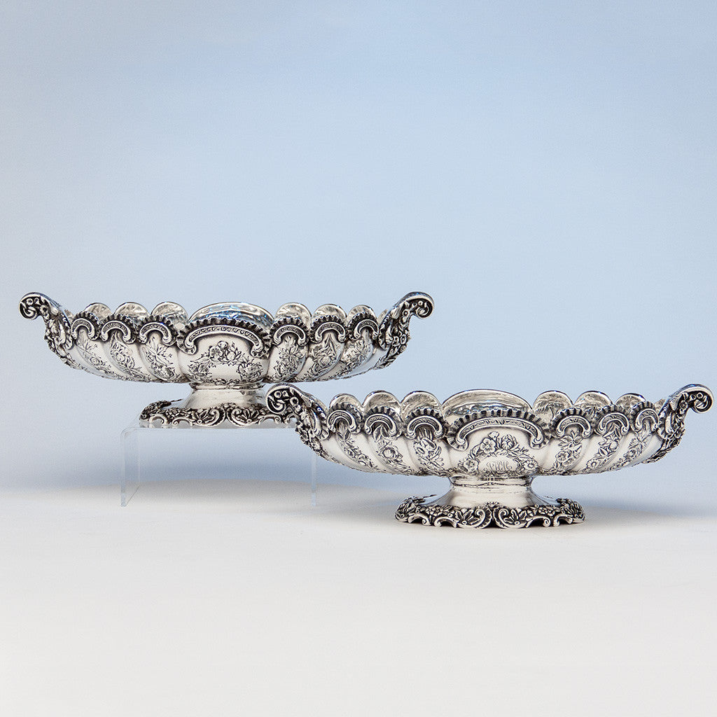 Pair of S. Kirk & Son Antique Sterling Silver Oval Serving Dishes, Baltimore, MD, 1891- c. 1905