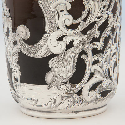Pond scene on Massive Gorham Silver Overlay on Albert R. Valentien decorated Rookwood Vase, Providence, RI, and Cincinnati, OH, 1892 & 1893, Designed and Executed for the World's Columbian Exposition, Chicago, 1893