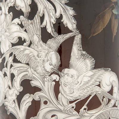 Love birds scene on Massive Gorham Silver Overlay on Albert R. Valentien decorated Rookwood Vase, Providence, RI, and Cincinnati, OH, 1892 & 1893, Designed and Executed for the World's Columbian Exposition, Chicago, 1893