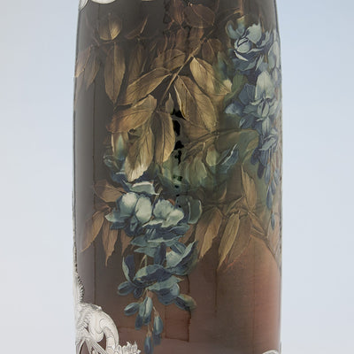 Wisteria painting on Massive Gorham Silver Overlay on Albert R. Valentien decorated Rookwood Vase, Providence, RI, and Cincinnati, OH, 1892 & 1893, Designed and Executed for the World's Columbian Exposition, Chicago, 1893