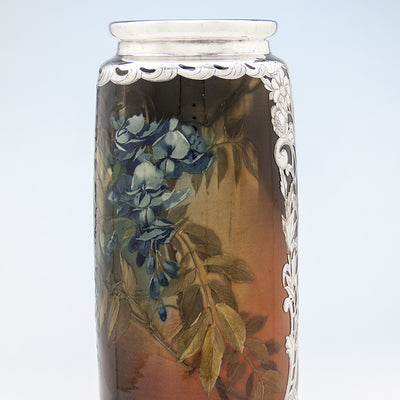 Foliage painting on Massive Gorham Silver Overlay on Albert R. Valentien decorated Rookwood Vase, Providence, RI, and Cincinnati, OH, 1892 & 1893, Designed and Executed for the World's Columbian Exposition, Chicago, 1893