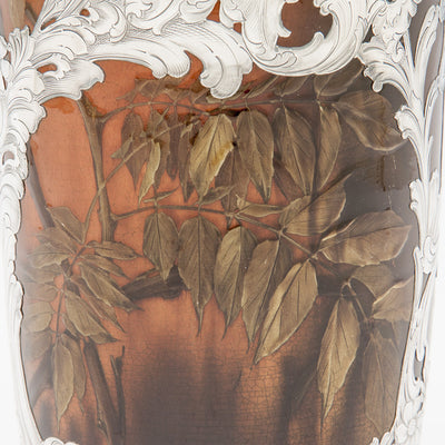 Painting detail on Massive Gorham Silver Overlay on Albert R. Valentien decorated Rookwood Vase, Providence, RI, and Cincinnati, OH, 1892 & 1893, Designed and Executed for the World's Columbian Exposition, Chicago, 1893