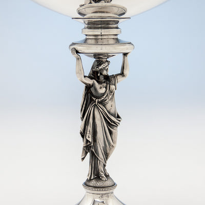 Figural stem of Gorham Antique Sterling Silver Figural Centerpiece Bowl or Fruit Stand, Providence, RI, 1868, retailed by Tiffany & Company