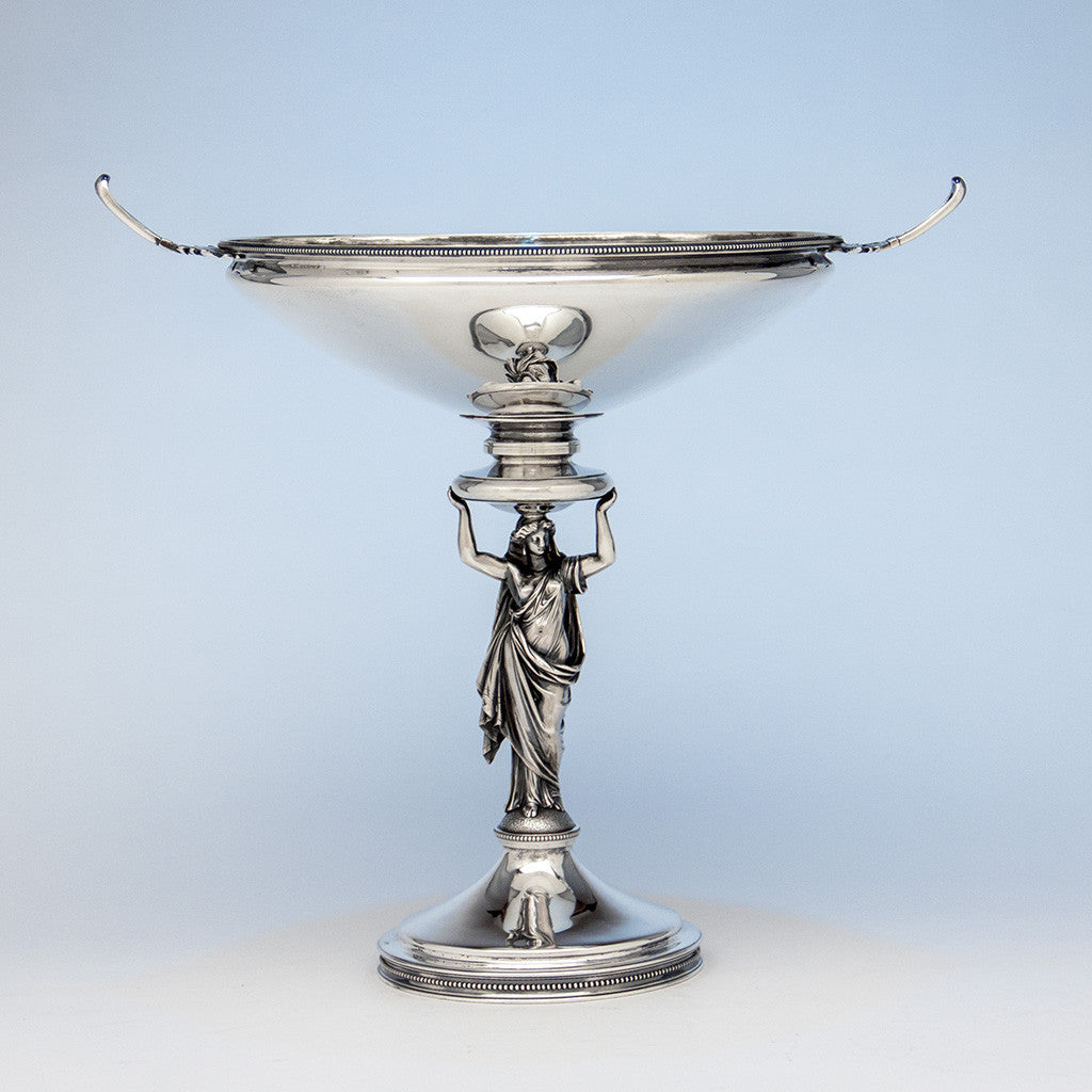 Gorham Antique Sterling Silver Figural Centerpiece Bowl or Fruit Stand, Providence, RI, 1868, retailed by Tiffany & Company