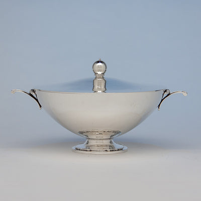 Tuttle Silversmiths Sterling Silver Modernist Covered Bowl, Boston, 1938