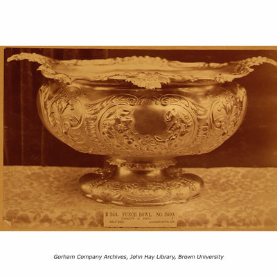 Archival image of the Gorham Antique Sterling Silver Massive Punch Bowl, Providence, RI, 1886