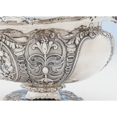Repousse detail on the Gorham Antique Sterling Silver Massive Punch Bowl, Providence, RI, 1886