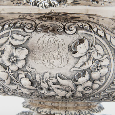 Cartouche detail Gorham Antique Sterling Silver Massive Punch Bowl, Providence, RI, 1886