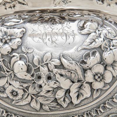 Monogram on Gorham Antique Sterling Silver Massive Punch Bowl, Providence, RI, 1886