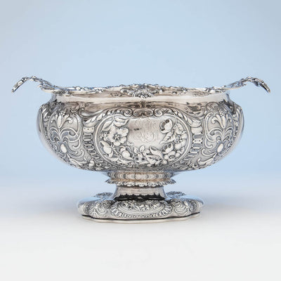 solo Gorham Antique Sterling Silver Massive Punch Bowl, Providence, RI, 1886