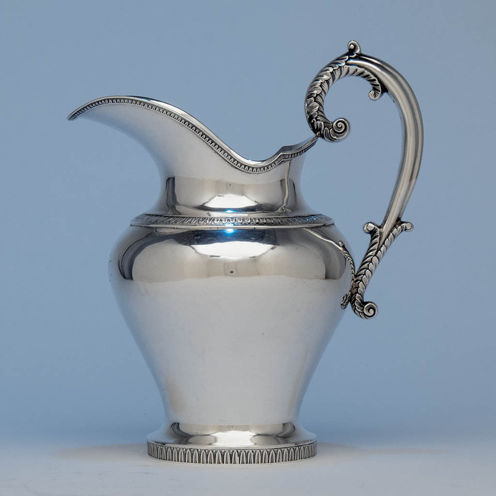 Thomas Fletcher (attributed) American Classical Silver Water Pitcher retailed by Baldwin Gardiner, New York, c. 1835-40